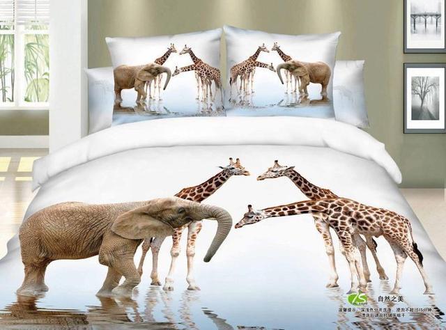 Top 3D Giraffe elephant print bedding set queen size bedspread duvet  ZD68