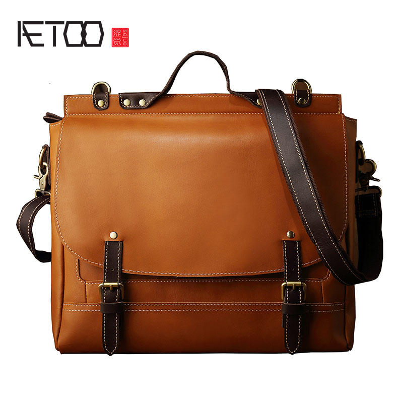 AETOO The original design of the first layer of leather bag retro trend s casual Leather Shoulder Bag Messenger Bag Handbag men s leather oblique cross chest packs of the first layer of leather deer pattern men s shoulder bag korean fashion men s bag