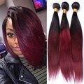 Dois Tons 1B/99J Cabelo Virgem Cambojano Ombre Extensões de Cabelo 3 Cabelo Cor de Vinho Em Linha Reta Do Cabelo Humano Weave Bundles Rosa Produtos para o cabelo