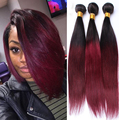 Two Tone 1B/99J Cambodian Virgin Hair Straight Ombre Hair Extensions 3 Burgundy Hair Human Hair Weave Bundles Rosa Hair Products