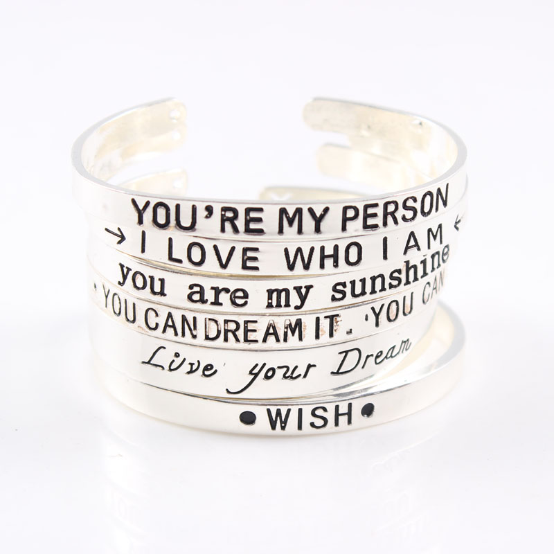 Wholesale Silver Zinc Alloy Bar Engraved Positive Inspirational Quote Cuff Bracelet Bangle for women Black Letter