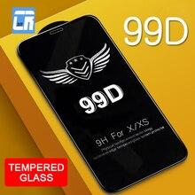 Vidrio Protector de borde curvo 99D para iPhone 7 6X8 S Plus, vidrio templado para iPhone XS MAX XR, película protectora de pantalla