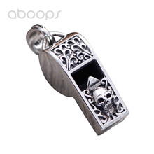 Vintage Punk Real 925 Sterling Silver Functional Emergency Whistle Necklace Pendant Carved Skull for Men Boys