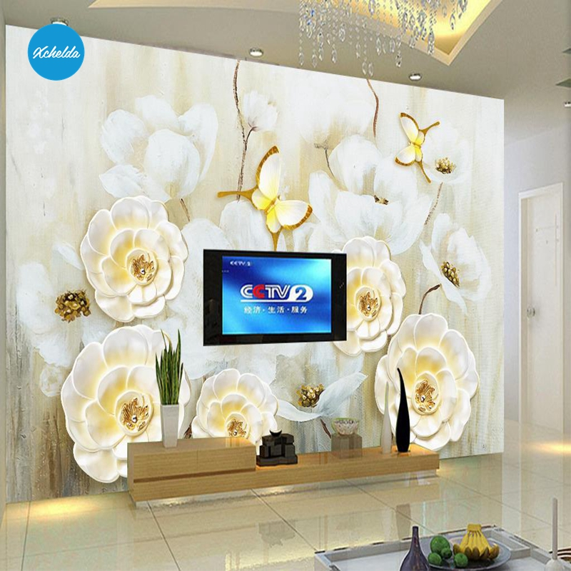 XCHELDA Custom 3D Wallpaper Design Butterfly & Flower Photo Kitchen Bedroom Living Room Wall Murals Papel De Parede Para Quarto kalameng custom 3d wallpaper design street flower photo kitchen bedroom living room wall murals papel de parede para quarto