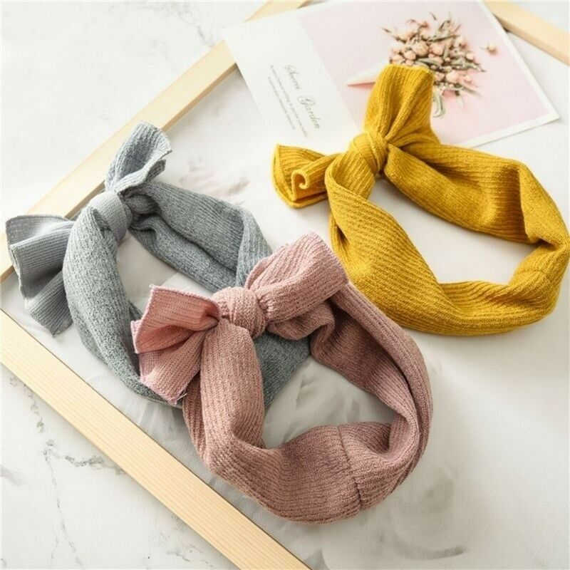 Girls Baby Toddler Bowknot Turban Solid Headband Autumn Fashion Knit Headband Hair Band Newborn Baby Girl Accessories Headwear