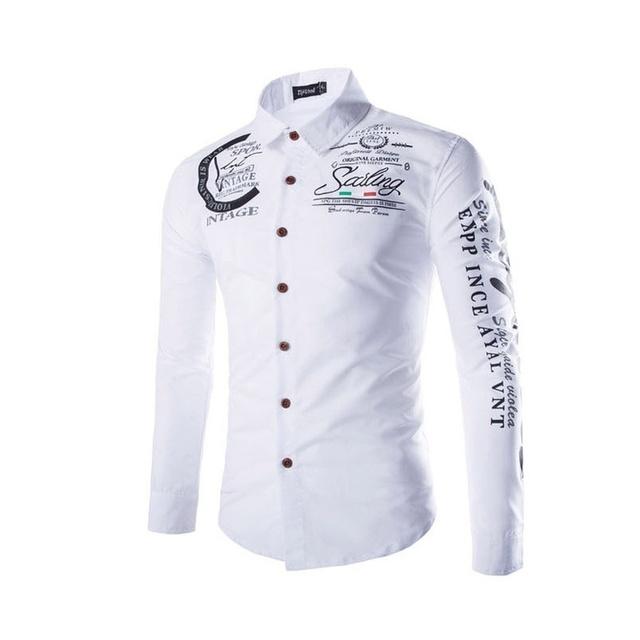 Casual Slim Fit Male Casual Geek Business Long Sleeve Shirt