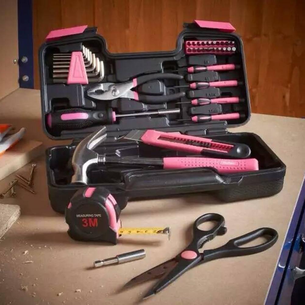 Rose 40 pcs/ensemble Tool Set D'outils À Main Des Ménages De Voiture Outils de Maintenance Kit Avec Boîte À Outils En Plastique De Stockage Cas