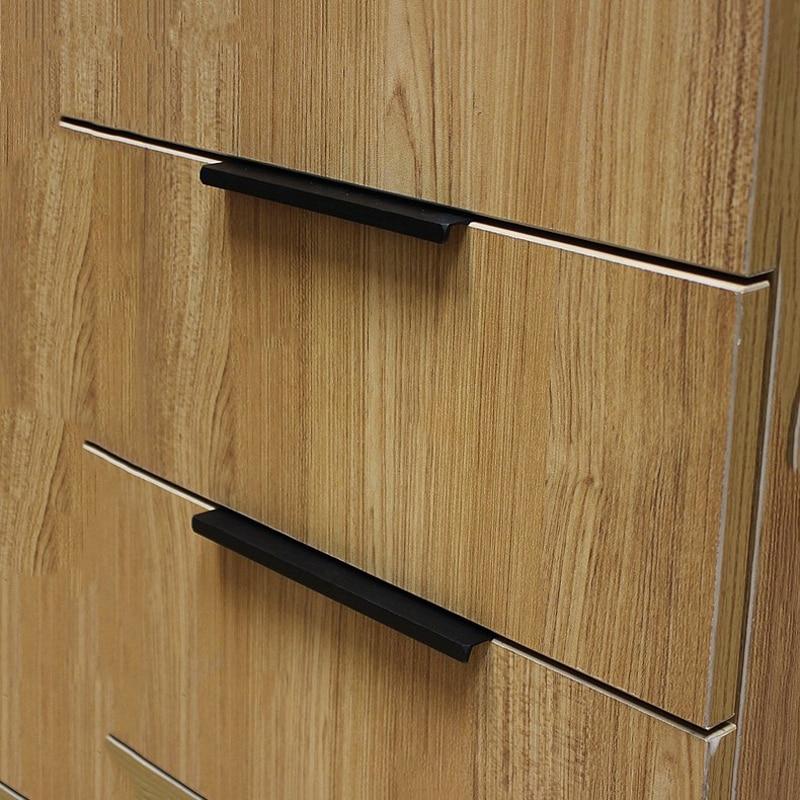 "Black Handles For Kitchen Cabinets: 3.8""Modern Simple Cabinet Door Edge Handle Wardrobe Drawer"