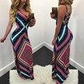 2017 Sexy Summer Dress Ретро Шнурок Открыть Назад Женщины Платья в Складку Этнических Стороны Сплит Холтер Шнурок Макси Dress Vestidos
