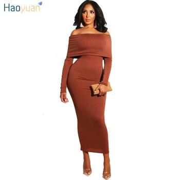 17e1d421624 HAOYUAN пикантные облегающее платье женская одежда 2019 осень зима  обёрточная бумага с открытыми плечами Черный Длинным