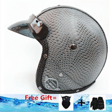 gray Adult Open Face Half Leather Helmet Harley Moto Motorcycle vintage Motorbike Vespa