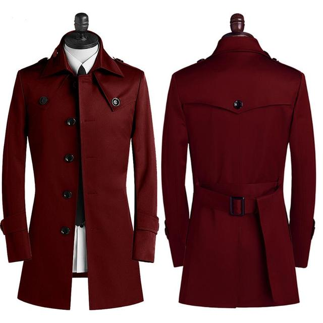 During the spring and autumn 2015 men trench coat lapels single-breasted men's leisure coat coat