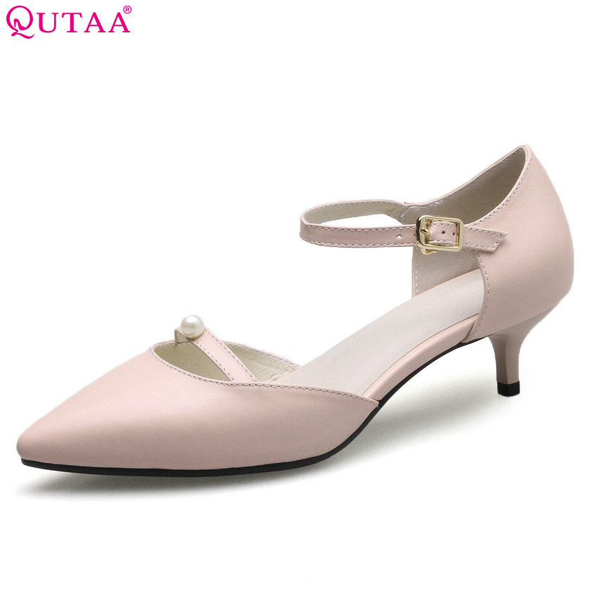 QUTAA 2018 Women Pumps Cow Leather+pu Thin High Heel Buckle Women Shoes Pointed Toe Solid Ladies Wedding Pumps Size 34-41 plus size 11 12 black pointed toe wedding women shoes summer office ladies work shoes thin high heel pu leather woman pumps