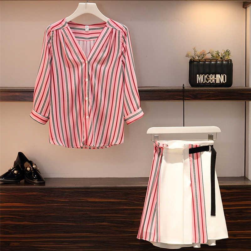 プラスサイズ M-4XL カジュアル 2019 夏 2 個セット女性ストライプ V ネックシングルブレストシャツ + パッチワークスカートの求人服