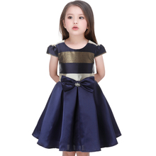 Girl stripe Sleeveless Dresses with belt