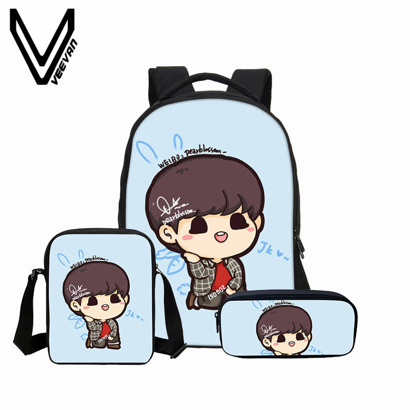 3 Pcs/set VEEVANV Combination Package Children Backpacks Girls School Bags Cute BTS 3D Printing Backpack Fashion Cartoon Mochila