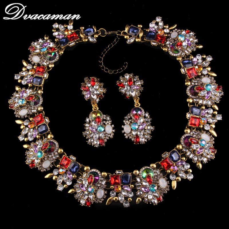 Dvacaman New Arrival Luxury Fashion Statement Good Quality Jewelry Sets Za Brand Elegant Crystal African Beads
