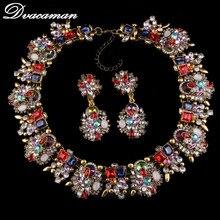 Dvacaman nueva moda de lujo llegada declaración buena calidad sistemas de la joyería Za marca elegante cristal de áfrica juegos de joyería 9828