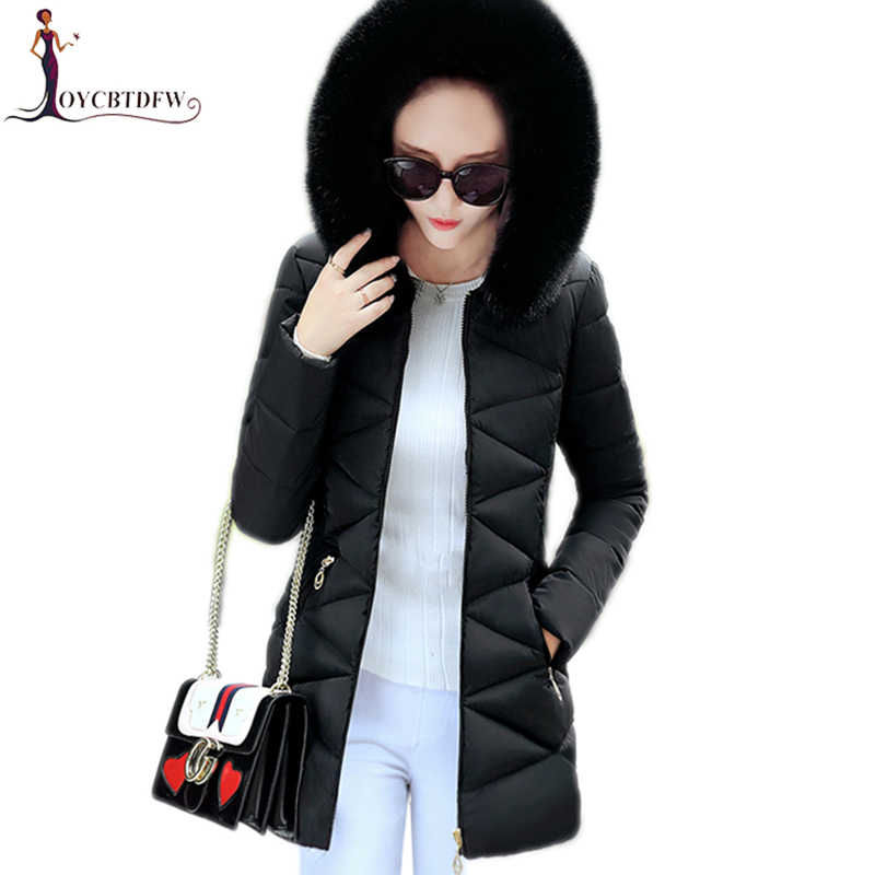 Winter women cotton jacket 2017 fashion new solid color outerwear mid-long Fur collar overcoat hooded warm female Parkas wy022 women winter coat leisure big yards hooded fur collar jacket thick warm cotton parkas new style female students overcoat ok238