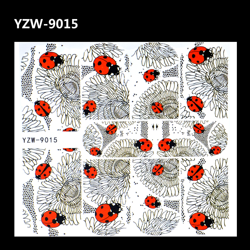 YZWLE 1 Sheet Water Transfer Foils Nail Art Sticker Black Flower Ladybug Design Water Decals Manicure Decorations Tools Sticker yzwle 1 sheet cartoon watermark water transfer design nail art sticker nails decal manicure tools