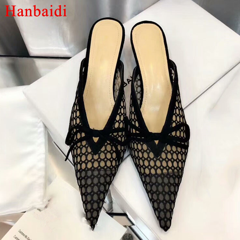 Hanbaidi 2018 Lace Dot Bow Knot Gladiator Sandals Fashion Women Cut out Pointed Toe Low Heel Shoes Woman Slipper Muller Shoes 40 knot front cut out ribbed tee