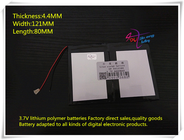 3.7V 6600mAH 4412180 Polymer lithium ion / Li-ion battery for tablet pc cell phone POWER BANK