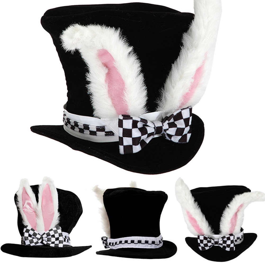 Kids Rabbit Velvet Gift Cute Plush Topper Bowknot Costume Easter Funny Performance Bunny Ears Party Hat With Checkered