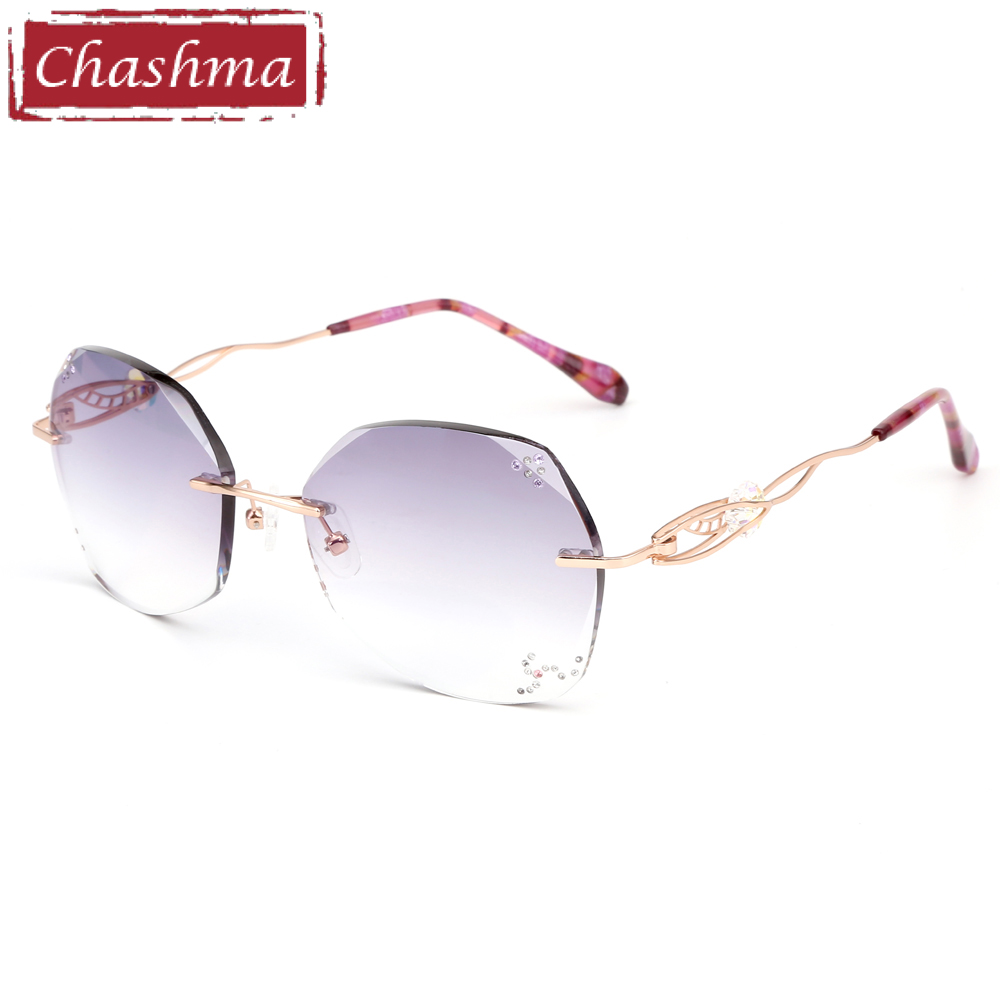 Chashma Titanium Fashion Female Eye Glasses Diamond Trimmed Rimless Spectacle Frames Women Prescription Sunglasses Tint Lenses