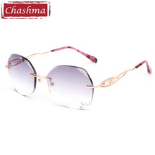 63dadacbb1 Chashma Titanium Fashion Female Eye Glasses Diamond Trimmed Rimless  Spectacle Frames Women Prescription Sunglasses Tint Lenses