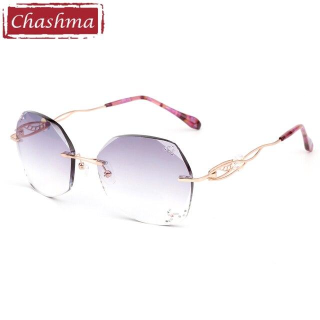 04ef08fd92 Chashma Titanium Fashion Female Eye Glasses Diamond Trimmed Rimless  Spectacle Frames Women Prescription Sunglasses Tint Lenses