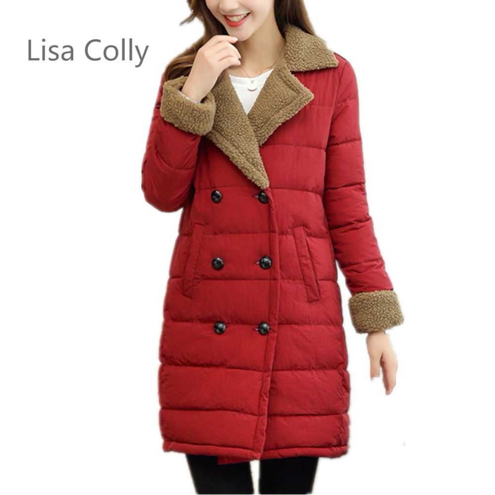 Lisa Colly Women Double Breasted Winter Jacket Coat Women Snow Outwear faux fur coat Long Thick Cotton Padded Warm Cotton Parkas