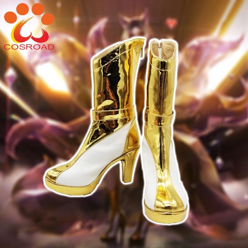 Cosroad LOL KDA Ahri Cosplay Shoes Costume Women Kaisa Prestige Edition Golden Boots