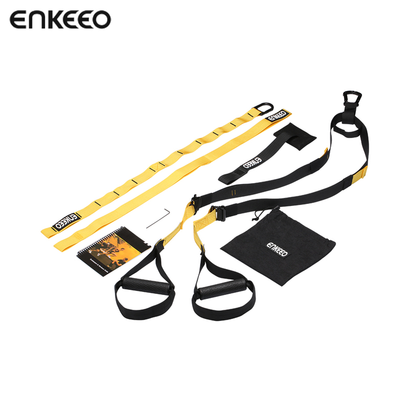 Enkeeo Resistance Suspension Trainer Strength Training Fitness Equipment Spring Exerciser Fitness Cross Fit Full-Body Workouts rip trainer high quality resistance bands crossfit fitness exercise equipment gym rip trainer basic kit stick fitness rope