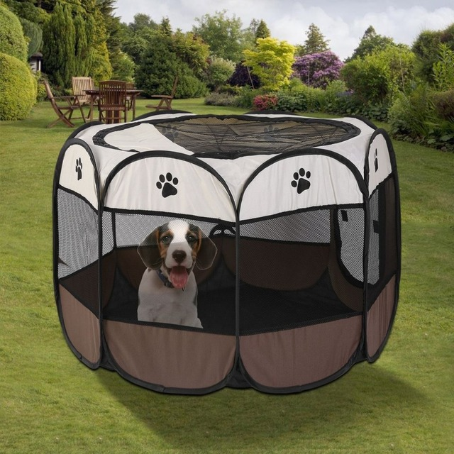 Portable Outdoor Detachable Folded Folding Waterproof Octagonal Pet Dog Cat Kennel Puppy Fence Oxford Tents Cage NEW