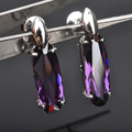 2016 Fashion Purple Cubic Zirconia For Women Silver Jewelry Earrings Free Shipping  P01641