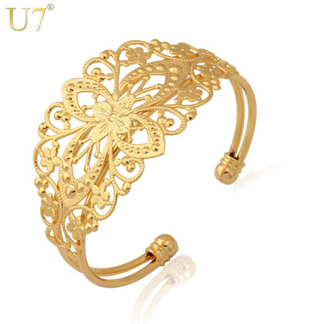 U7 Vintage Cuff Bracelet Gold Color Decorative Fancy Design Bracelets Bangles Fashion Jewelry For Women