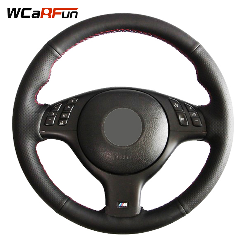 WCaRFun Hand-stitched Black Artificial Leather Car Steering Wheel Cover For BMW E46 M3 E39 330i 540i 525i 530i 330Ci 2001-2003