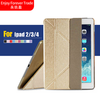 High Quality Magnetic PU Leather Slim Smart Cover For Apple Ipad 4 3 2 Case Transparent