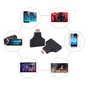 Image 2 - 1080P 1 in 2 HDMI Splitter Adapter Male to 2 Female Onversion Head Adapter HDMI Male to Female Conversion Cable