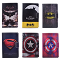 Hot 3D Cartoon Superman Batman Captain America Flip Stand PU Leather Tablet Protective Case For  Ipad2/3/4  +Stylus Pen
