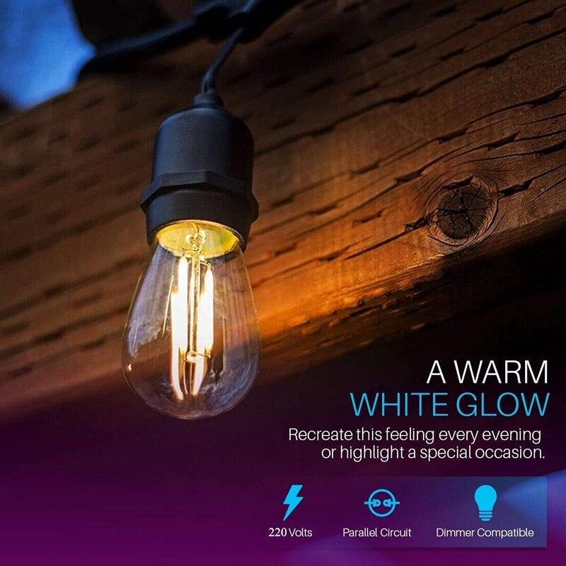 IP65 15 m LED S14 Guirlande Lumineuse Étanche E27 Chaud LED Rétro Edison Filament Ampoule Extérieure Rue Jardin Patio Vacances éclairage - 4