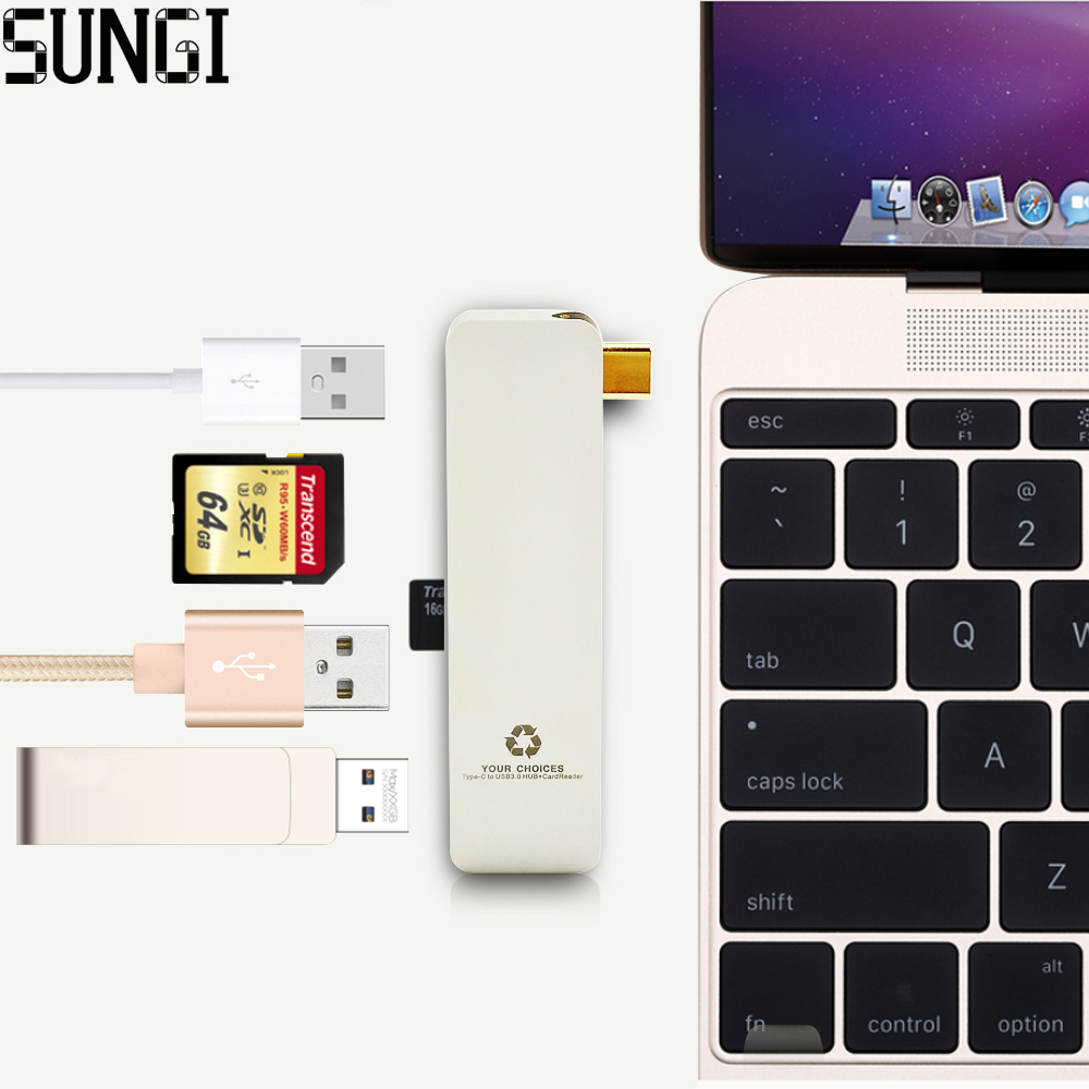 ФОТО New High Speed Type-C To USB 3.0 hub Charging Port Adapter Card Reader Aluminum Alloy For Apple Macbook