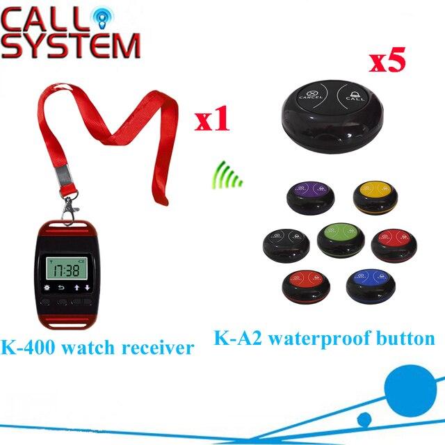 Стол Часы Пейджер Система Наиболее Популярных Запястье Пейджер С Водонепроницаемый Зуммер Bell Equipment (1 часы + 5 кнопка вызова)