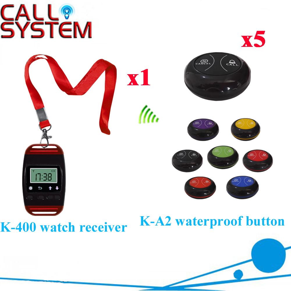 Table Watch Pager System Most Popular Wrist Pager With Waterproof Buzzer Bell Equipment(1 watch+5 call button) restaurant pager watch wireless call buzzer system work with 3 pcs wrist watch and 25pcs waitress bell button p h4