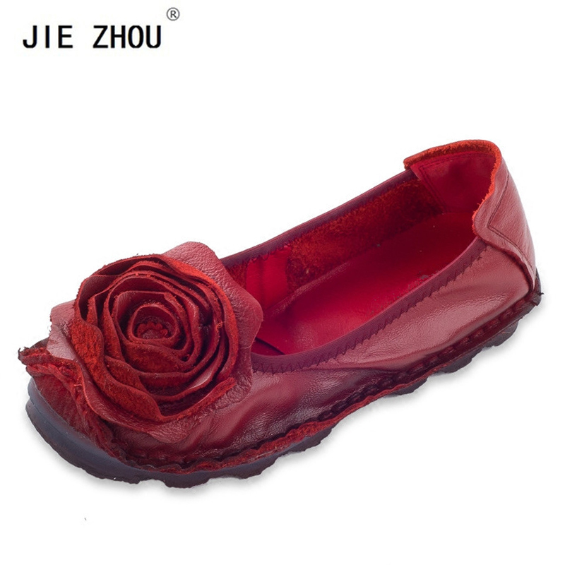 Fashion Big Flower Loafers Comfortable Women Shoes Casual Work Driving Shoes Women Flats Genuine Leather Flat