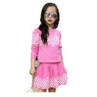 School Girls Brand Cardigan Clothes Sets Knitted Sweater Wave Skirt 2Pcs Winter Autumn Warm Children Clothing