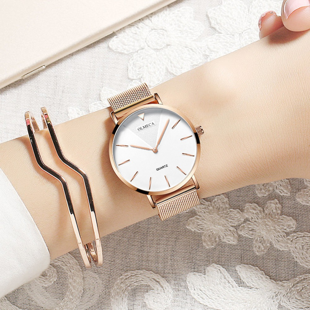 2019 Fashion Simple Women Watches Quartz Ladies Wrist Watches Ultra Thin Luxury Brand Rose Gold Steel Mesh Waterproof Girls Cloc