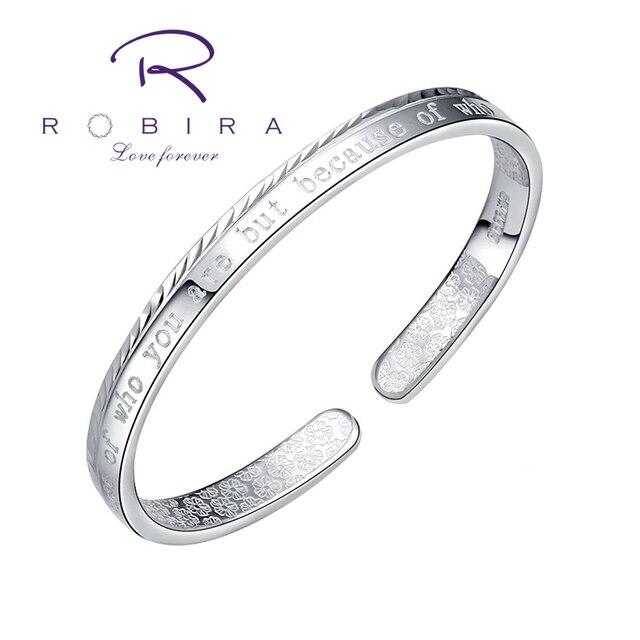 Robira New Silver Letter Bangle for Women 999 Fine Silver Bracelets and Bangles Jewelry Women's Fashion Cuff