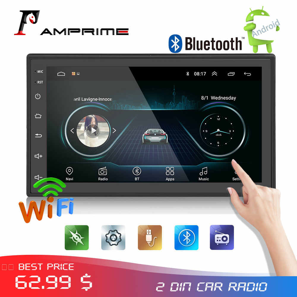 AMPrime Android 2din auto-Radio audio autoradio 7''LCD pantalla táctil MP5 Player Bluetooth WIFI GPS FM coche reproductor multimedia Radios