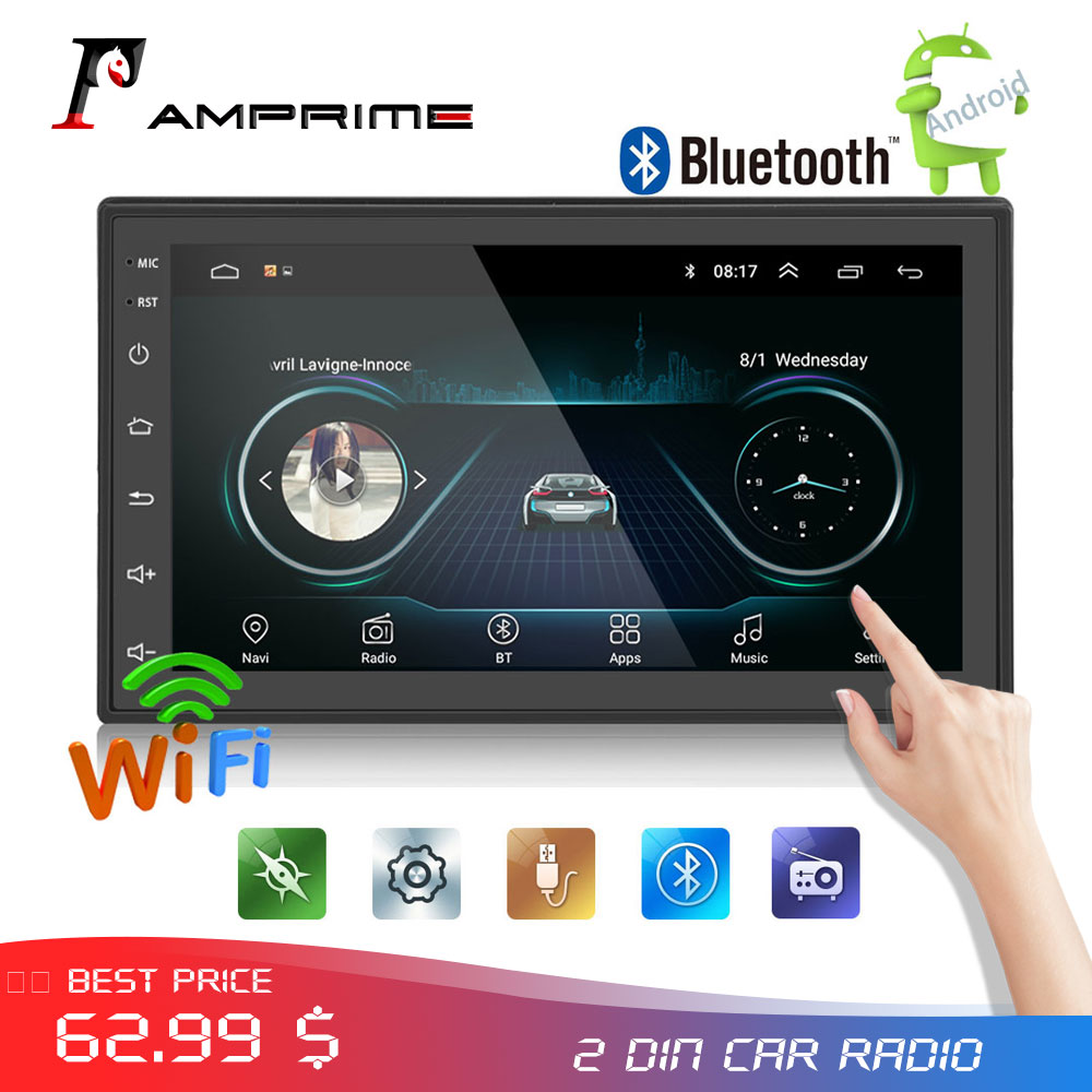 AMPrime Android 2din autoradio audio autoradio 7''LCD ecran tactile MP5 lecteur Bluetooth WIFI GPS FM AM voiture lecteur multimédia